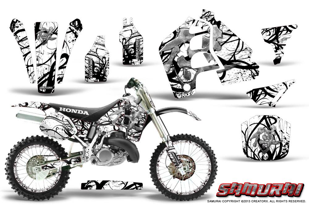 honda cr500 graphics kit samurai black white np rims